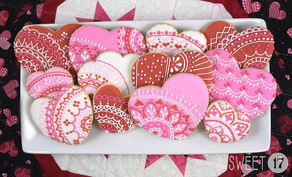 Valentine's Heart Lace Sugar Cookies