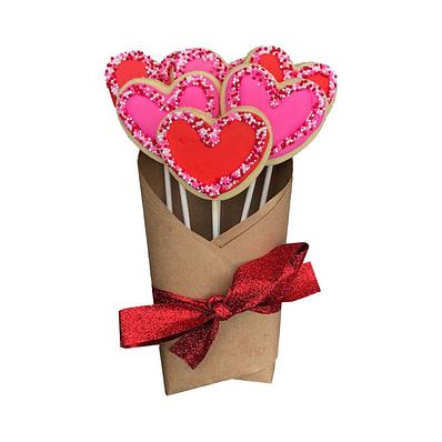 Valentine's Day Heart Cookie Bouquet