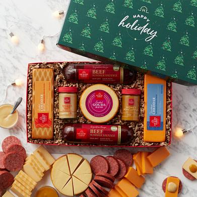 Hickory Farms holiday summer sausage & cheese gift box