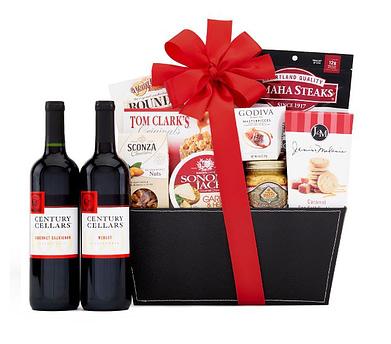 Omaha Steak's century cellars duet red wine gift basket