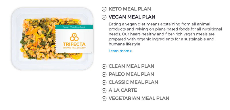 vegan meals offered by Trifecta Nutrition